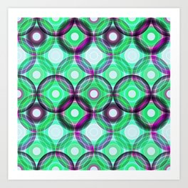 Circles | green and purple Art Print