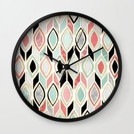 Patchwork Pattern in Coral, Mint, Black & White Wall Clock