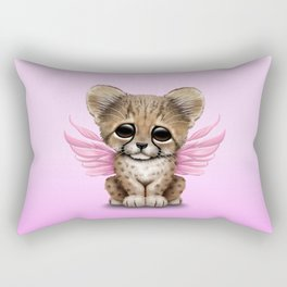 Cute Baby Cheetah Cub with Fairy Wings on Pink Rectangular Pillow