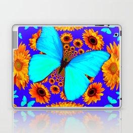 Turquoise Butterflies Golden Sunflowers Blue Abstract Laptop & iPad Skin
