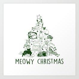 Meowy Christmas Cat Tree Art Print