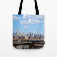 manhattan Tote Bags featuring Manhattan by Sadie Mae