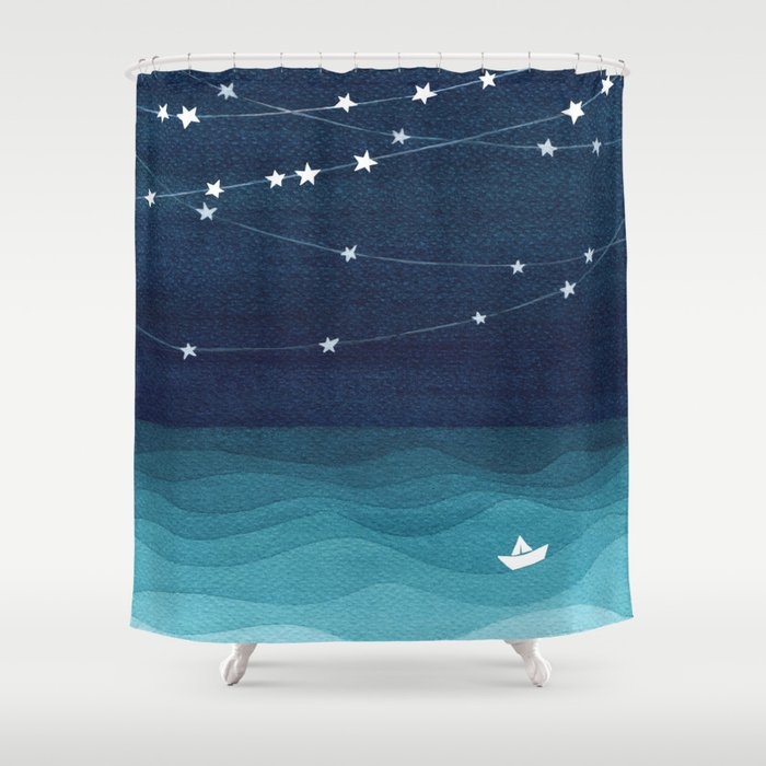 Garlands Of Stars Watercolor Teal Ocean Shower Curtain By Vapinx