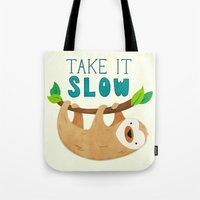 sloth Tote Bags featuring Sloth by Claire Lordon