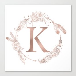 Letter K Rose Gold Pink Initial Monogram Canvas Print