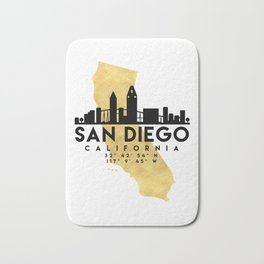 SAN DIEGO CALIFORNIA SILHOUETTE SKYLINE MAP ART Bath Mat