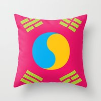 korea Throw Pillows featuring Neon Nation SOUTH KOREA by T.K.O.