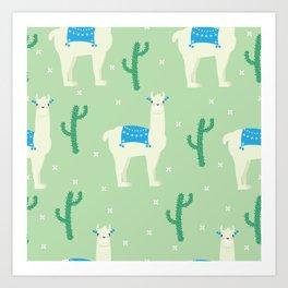 Llamas and llamas Art Print