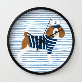 Beagle Sailor Nautical Design Dog fabric Wall Clock