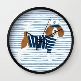 Beagle Sailor Nautical Design Dog fabric Wall Clock