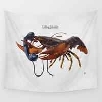 salvador dali Wall Tapestries featuring Calling Salvador by rob art | illustration
