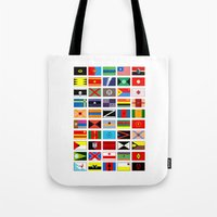 spawn Tote Bags featuring SH as flags by Fabian Gonzalez