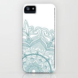 Teal Flower Mandala iPhone Case