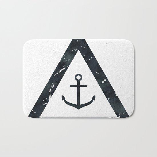 Vintage Anchor Black and White Bath Mat