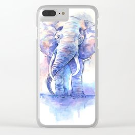 Elephant Watercolor Clear iPhone Case