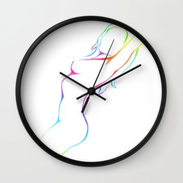 Female figure line art Wall Clock