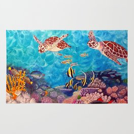Zach's Seascape - Sea turtles Rug