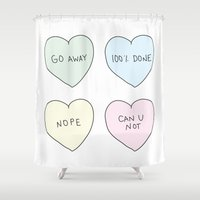 sassy Shower Curtains featuring Sassy Hearts by laurenschroer