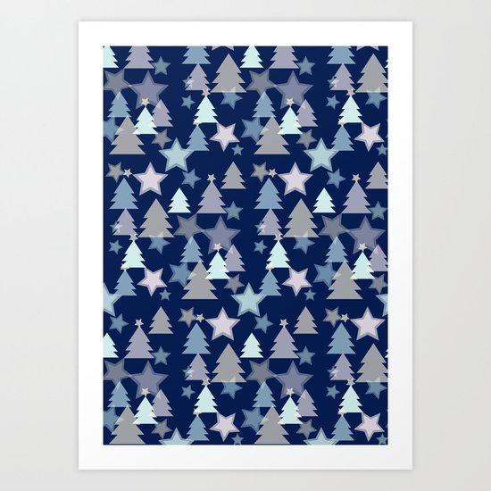 Christmas Landscape blue Art Print