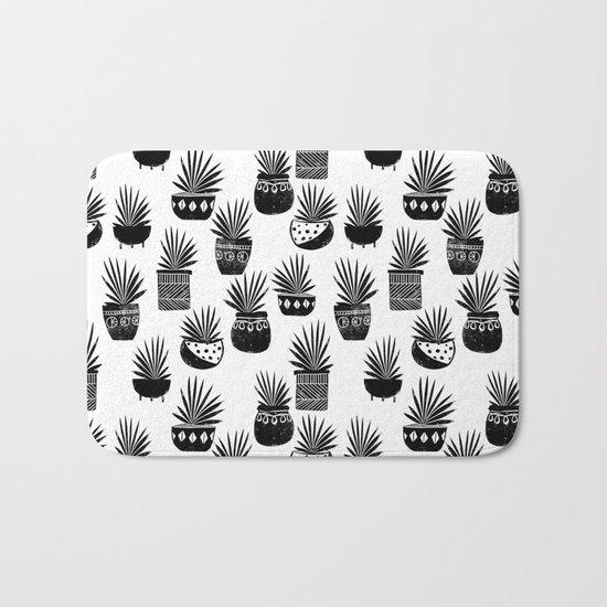 houseplant linocut aloe vera art botanical black and white lino printmaking art minimal modern Bath Mat
