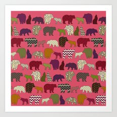 bear wolf geo party pink Art Print
