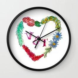 Custom Heart Wreath V & T Wall Clock