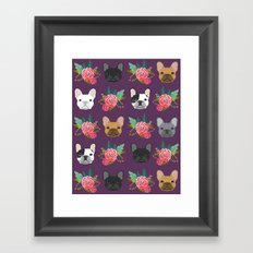 French Bulldog florals cute spring summer dog gifts bright happy frenchie puppy dog portraits  Framed Art Print