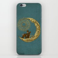 rug iPhone & iPod Skins featuring Moon Travel by Eric Fan
