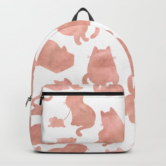 Cat Pattern Rose Gold Kitty Cats Backpack