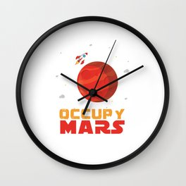 Occupy Mars Planets Galaxy Outerspace Rocketship Scientists Astronauts Gift Wall Clock