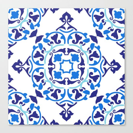 Cobalt blue boho pattern Canvas Print