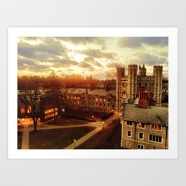 Sunset over Blair Tower at Princeton University Art Print