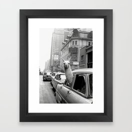 Llama Riding in Taxi, Black and White Vintage Print Framed Art Print
