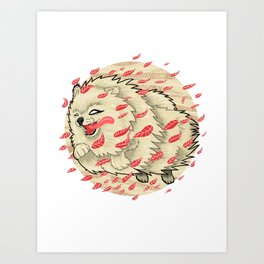 Pomeranian in Autumn Art Print