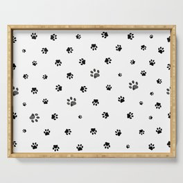 Black doodle paw prints background pattern for fabric design Serving Tray
