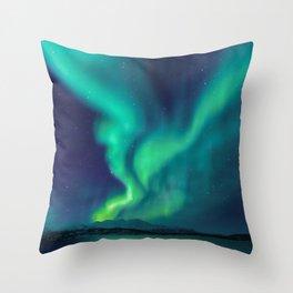 Aurora Borealis Lights Up the Sky (Northern Lights) Throw Pillow