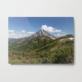 Picturesque summer panorama of volcanic landscape in Kamchatka Peninsula Metal Print