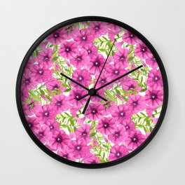 Pink watercolor petunia flower pattern Wall Clock