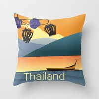thailand Throw Pillows featuring Thailand by Shirong Gao