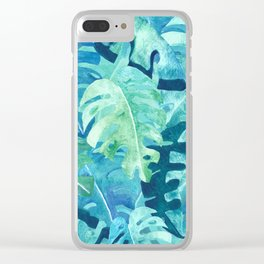 Monstera Leaves | Watercolor Collage in Blue Green Clear iPhone Case