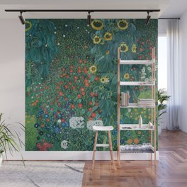 "Gustav Klimt ""Farm Garden with Sunflowers"" Wall Mural"
