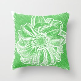 White Flower On Tech Green Crayon Throw Pillow