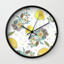 Cute Seamless Pattern with Lemons and Flowers Wall Clock