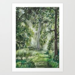 Path Through the Woods Watercolor Painting Art Print