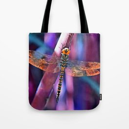 Dragonfly In Orange and Blue Tote Bag