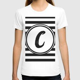 C Striped Monogram Letter T-shirt