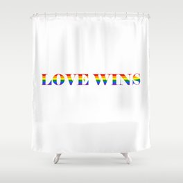 Love Wins White Background Shower Curtain