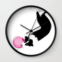 border collie Wall Clocks featuring Disc Dog - Border Collie by Niklab