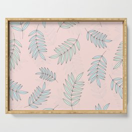 Good Vibrations / Pink Green Leaves Pattern Serving Tray