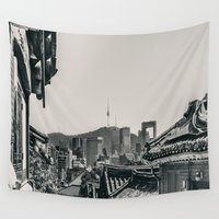 seoul Wall Tapestries featuring Seoul Cityscape by Jennifer Stinson